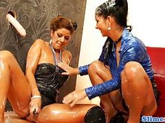 Bukkake lesbians toying wet box tubes