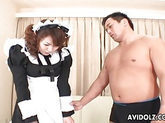 Japanese french maid tits sucked and pussy fingered tubes