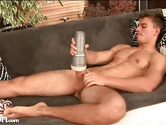 Lubed fleshlight squeezes his hot cock tubes
