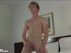 Young freckled guy with fit body masturbates tubes