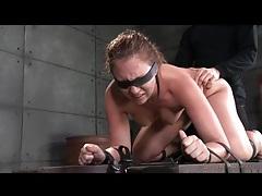 Bound and blindfolded girl spit roasted tubes