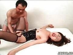 Shaved asian twat and tight asshole fucked tubes