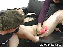 Busty amateur milf anal threesome with facial tubes