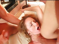 Skinny girl likes rough treatment in threesome tubes