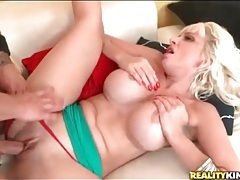 Blonde with fake titties fucked in panties tubes
