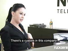 Teeny brunette fucks and sucks her boss tubes