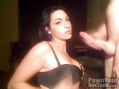 Tattooed hottie in black bra sucks dick tubes