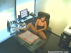 Sexy girl in a skirt masturbates pussy in office tubes