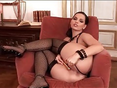 Leather lingerie and lusty fishnets on masturbating girl tubes