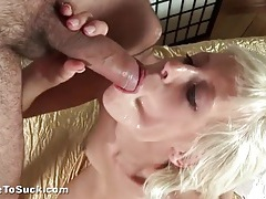 Facial cumshot for the skinny blonde cocksucker tubes