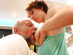 Hairy young pussy banging an old man! tubes