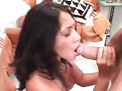 Beautiful brunette on her knees sucks off a cock tubes