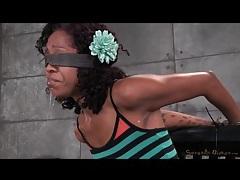 Cute black slut in bondage gags on dick tubes