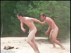 Guys play and suck dick naked on the beach tubes