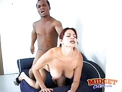 Curvy slut fucked doggystyle by midget cock tubes