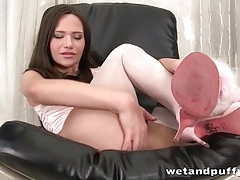 Pretty pink stockings and heels on brunette beauty tubes