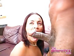 Slut sucks big black cock and gets fucked tubes