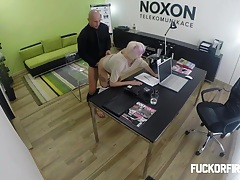 Slutty blonde fucking to keep her job tubes
