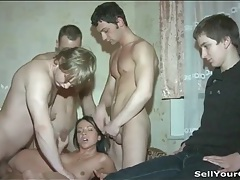 Three guys gangbang a slut as her bf watches tubes