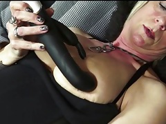 Cute old lady in leather boots masturbates tubes