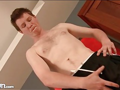 Cute twink plays with his hard dick in hot porn tubes