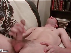 Masturbating with his eyes closed and cumming tubes