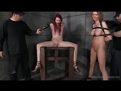 Gagged and bound redhead moans through toy play tubes