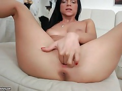 Anita sparkle striptease with lusty fingering tubes