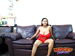 Midget sucks on her big natural tits tubes