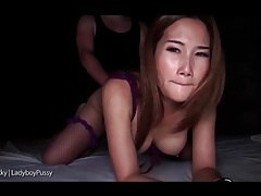 Nighttime anal sex with ladyboy in lingerie tubes