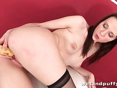 Banana fucked deep into her fresh wet pussy tubes
