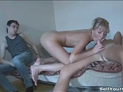 Super leggy blonde girl sucks and fucks tubes