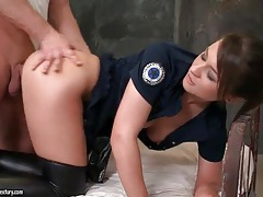 Cop slut in leather boots fucked doggystyle tubes