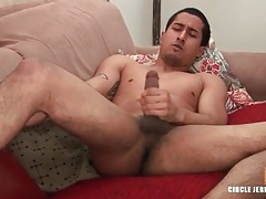 Cute guy with shaved balls masturbates and cums tubes