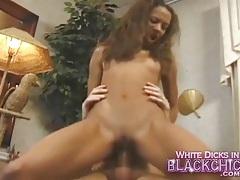 Skinny black girl rides stiff white boner passionately tubes