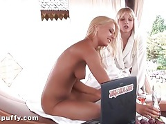 Blondes have passionate lesbian sex outdoors tubes