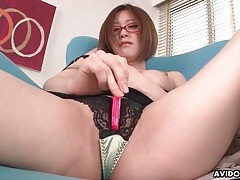 Super cute japanese chick in glasses masturbates tubes