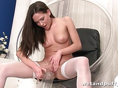 Teen in stockings pisses from her shaved pussy tubes