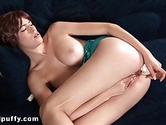 Tight wet pussy lips fucked by a dildo tubes