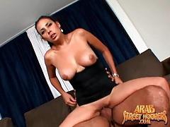 Big breasts arab slut swallows his hot cumshot tubes