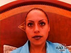 Girl in dark lipstick strips in sexy video tubes