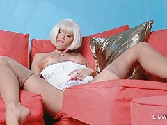 Sexy blonde chick lilywow in thinnest vintage nylons tubes