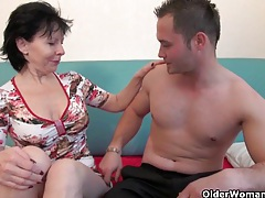 Grandma's new toy boy gets sucked and fucked tubes