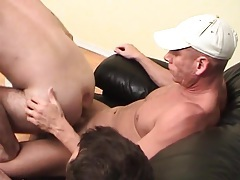 Gay bottom rides two dicks on the couch tubes