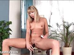 Black dildo up her cunt as she masturbates tubes