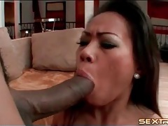 Asian sits her wet cunt on big black cock tubes