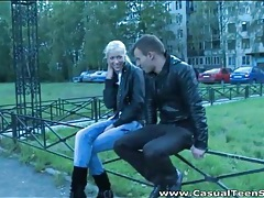 Blonde teen in boots and jeans blows him tubes