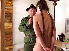Teen strips for a soldier and sucks his dick tubes
