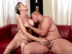 Granny gives blowjob to a younger man tubes