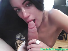 Brunette cocksucking lover giving head tubes